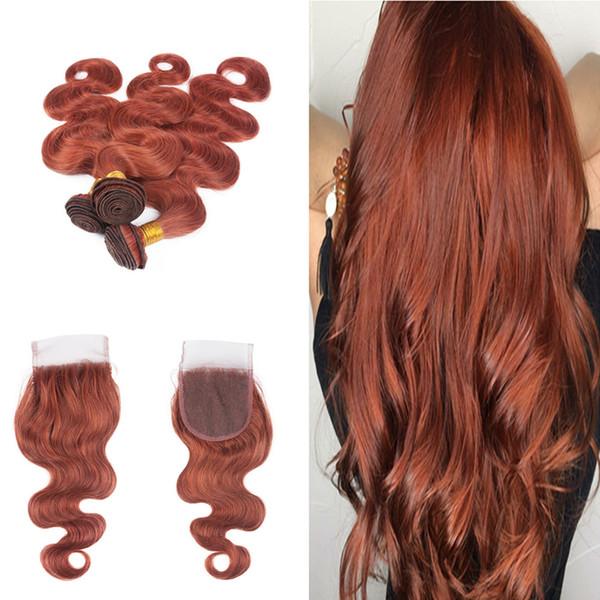 # 33 Dark Auburn Brown Virgin Haarverlängerung mit kostenlosem Teil Lace Closure Brazilian Colored # 33 Körperwelle 3Bundles mit Spitzenverschluss 4x4