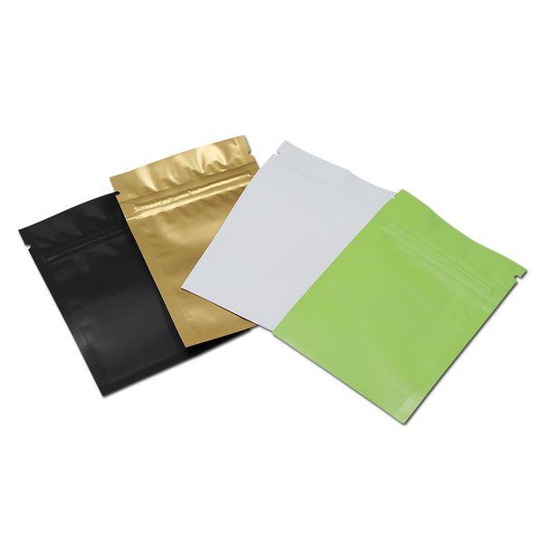 Preto Branco Verde Dourado Fosco Embalagem De Zíper de Alumínio Saco de Embalagem de Bloqueio Resealable Mylar Pacote Com Zíper Bolsa de Armazenamento Auto Seal Sacos de embalagem