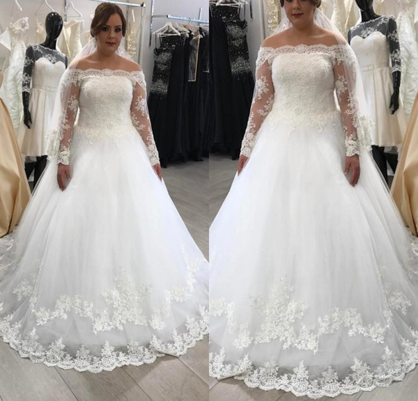 Sexy White Vintage Lace Long Sleeve Wedding Dresses A Line Off Shoulder Plus Size Tulle Wedding Gowns Bridal Dresses Custom Made Kleider