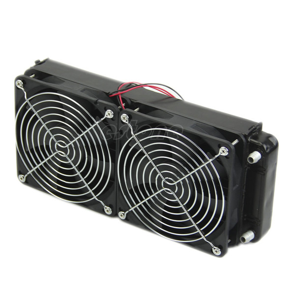 2 x 120 fan 240MM Aluminum Computer Cooler Small Cooling Fan PC Black Heat Sink, Computer Water Cooling Radiator Cooler