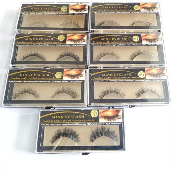 15 Styles 1 Pair Premium Quality False Eyelashes Handmade Real Mink Hair Fur Eyelash Soft Fake Eye Lash Extension Full Strip Lashes Q1