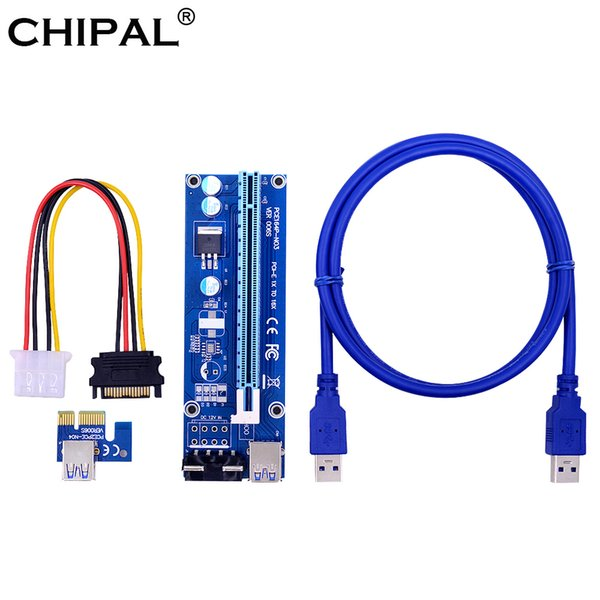 CHIPAL 10pcs 006S 1M PCI-E PCI Express 1X to 16X Riser Card + USB 3.0 Cable / SATA to 4Pin Molex Power for BTC LTC ETH Mining