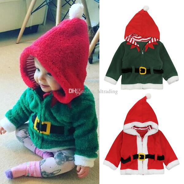 Kids Christmas Hoodies 2018 Autumn winter Santa Claus Plus velvet coats baby Boys girls Xmas Outwear Jackets 2 colors Clothing C5130