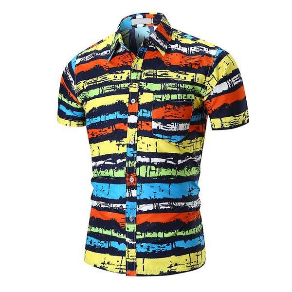 2018 Nuevos Mens Summer Beachwear Hipster de manga corta Slim Fit colorido rayado impreso Casual Button Down camisas hawaianas