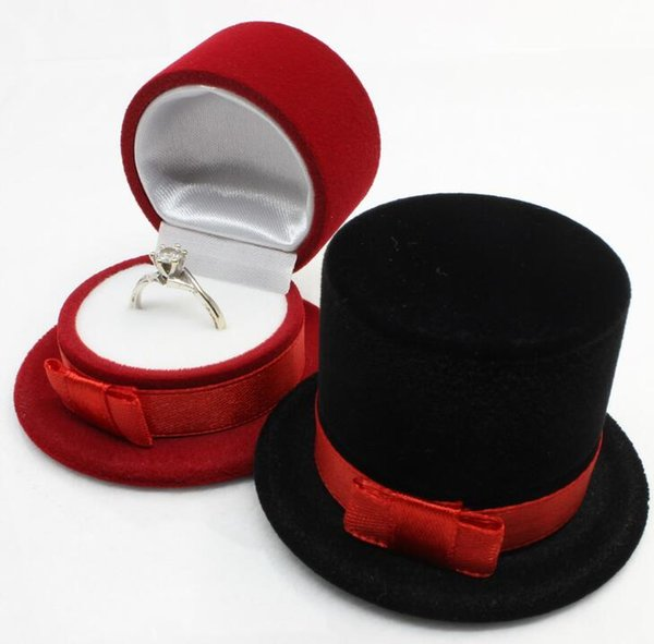 Red Black Velvet Magician Hat Shaped Display Jewelry Box Stud Earring Ring Gift Case DHL free ship