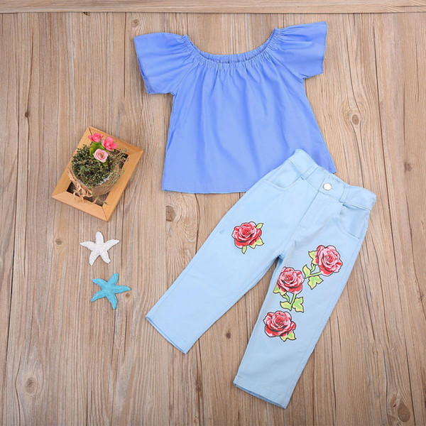 Kids Baby Girls Clothing Flower Clothes Off Shoulder Tops T-Shirt + Pants 2Pcs Outfits Fashion Summer Kids Girls Clothing Boutique Costume