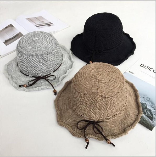 South Korean version sunshade holiday basin hat frilly bowknot fisherman's hat summer ladies beach sun protection straw hat tide leisure
