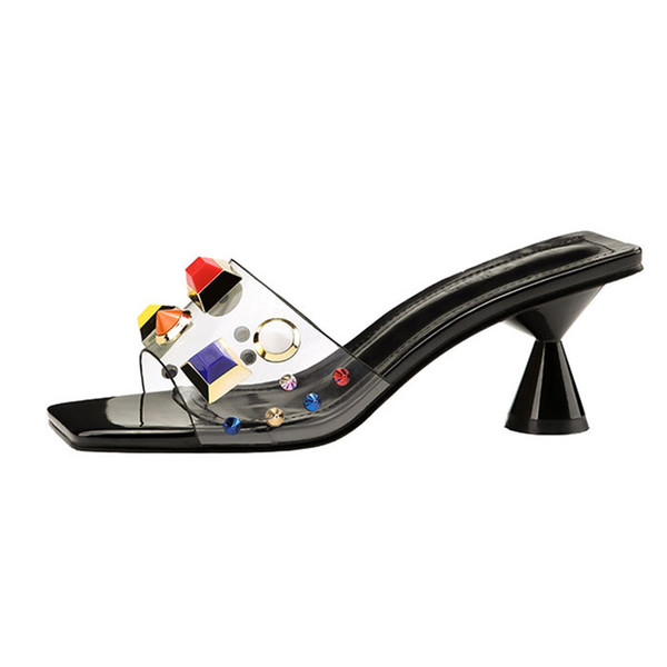 4b0dfcbb9ba8 2018 Style Summer Women 7cm High Heels Transparent Mules Slides Female  Strange Heels Ladies Slippers Women Sexy Fashion Metal Crystal Shoes