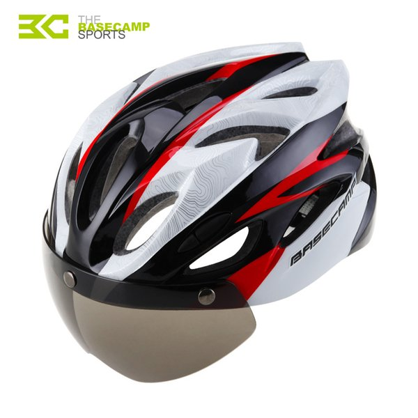 Basecamp Bicycle Helmet Goggles Bke Helmet Men Women Lens Cycling Helmets Shield Visor Road Bike Helmets MTB Windproof Glasses
