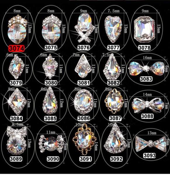 20pcs Nail Art Rhinestone Diamond Gems Metal AB Crystal Glitter 3D Tips Accessoires Jewelry Manicure Tools Decoration DIY Design