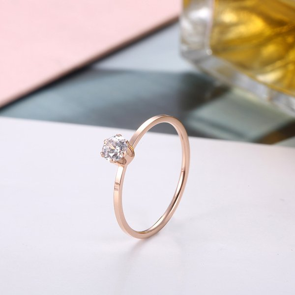 Male Female Stainless Steel Ring Simple Round Zircon Wedding Rings For Men And Women Trendy Rose Gold Color Jewelry