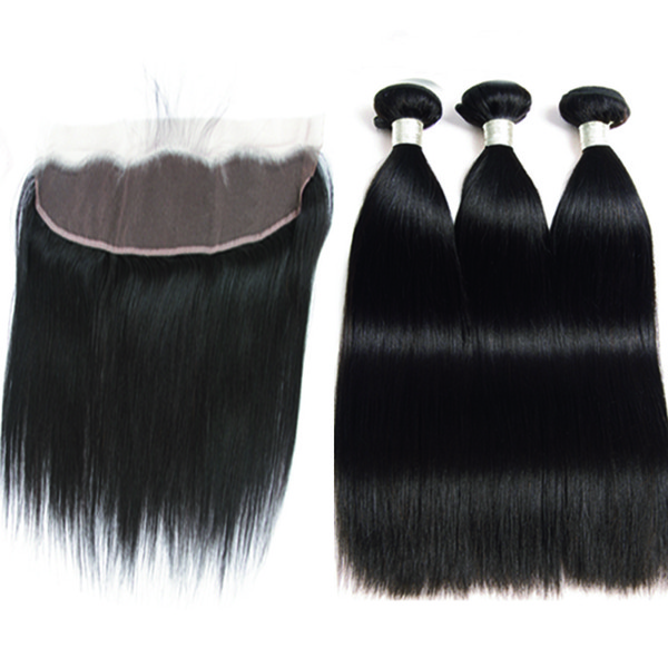 Lace Frontal With Bundles Human Hair 3 Bundles With Frontal Brazilian straight Wave Bundles West kiss Remy Indian Hair with lace frontal