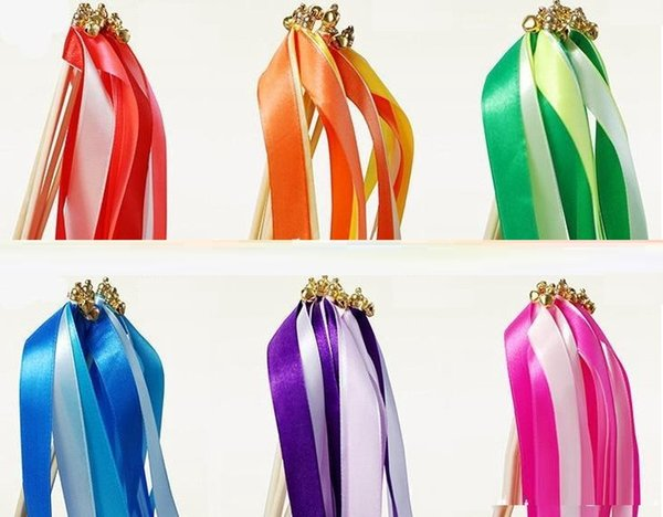 wirling ribbon streamers wedding favor ribbon stick wish wands with bell confetti Wedding Party Decoration Practical Favor Z315