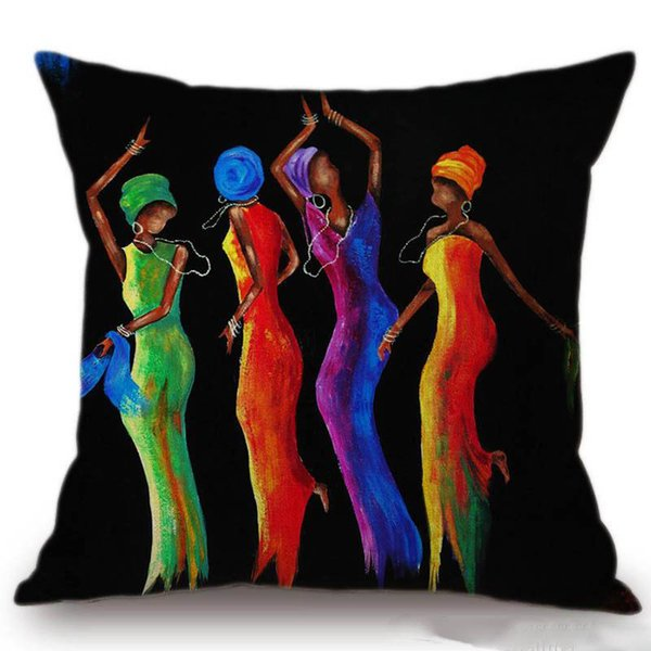 Painting Dancing African Woman Cushion Covers Africa Culture Art Cushion Cover Sofa Decorative Linen Cotton Pillow Case
