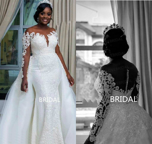 2019 New Plus Size Wedding Dresses Jewel Neck Lace Appliques Sweep Train Detachable Skirt Mermaid Wedding Dress Long Sleeve Bridal Gowns