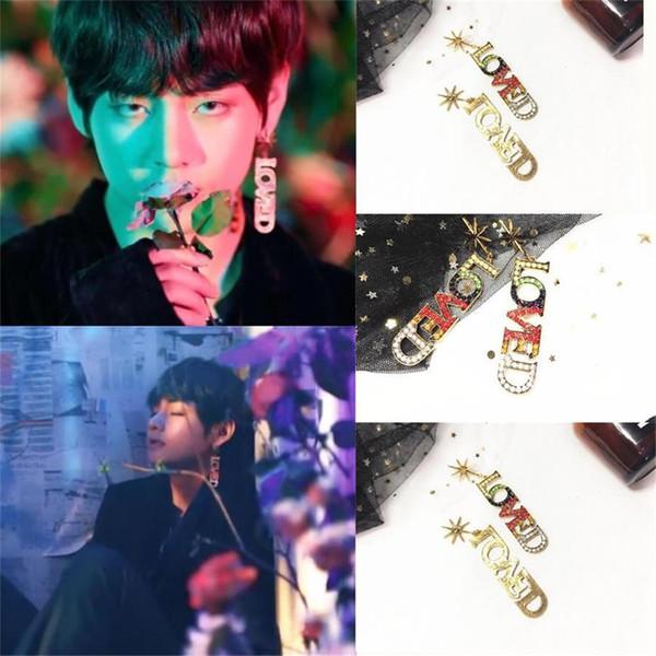 Mode frauen männer kpop bts liebesbrief b strass kristall ohr baumeln ohrring schmuck geschenk