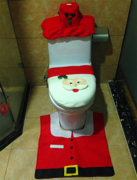 2015 decorazioni natalizie Festive Happy Babbo Natale modello Toilet Seat Cover e tappeto Bagno 3pcs / Set Free Sshipping