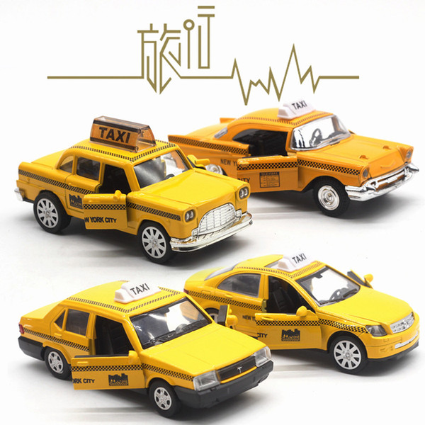 Alloy Car Model Toys, Taxi with Light Sound, Pull-back, 4 Kinds, High Simulation, for Party Kid' Birthday' Gift, Collecting, Home Decoration