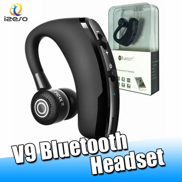 V9 Wireless Bluetooth Headset Headphone CSR 4.1 Business Stereo In-ear Wireless Earphones with Mic Voice Control with Retail Packaging