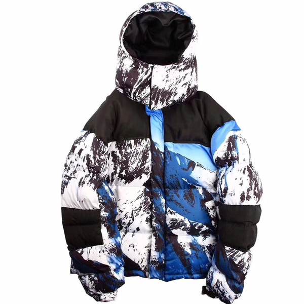 Sports de plein air neige montagne capuche vers le bas veste modèles de couple de camouflage plus la taille ainsi que veste en duvet de velours