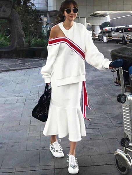 Le donne con cappuccio Vintage Tuta invernale con cappuccio Skirt Set allentata senza bretelle del nastro Fishtail Gonna Suit Due insiemi donne Pezzi S' femminili