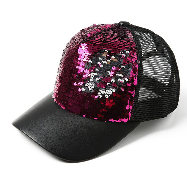 Mermaid Sequin Hats Paillette Glitter Baseball Caps Sequins Summer Bright Caps Outdoor Sunscreen Peaked Cap Snapback Hip Hop Hats in stock