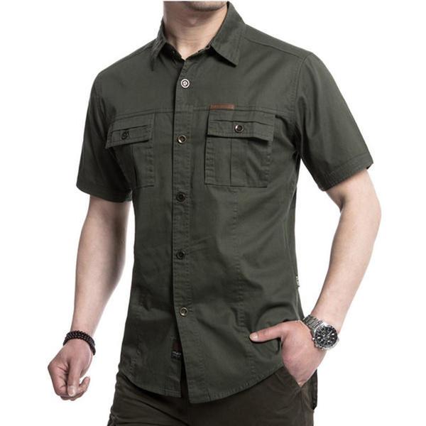 shirt Brand New Shirt Mens Short Sleeve Mens Casual Dress Male Tactical Shirts High Quality Street wearing M-5XL