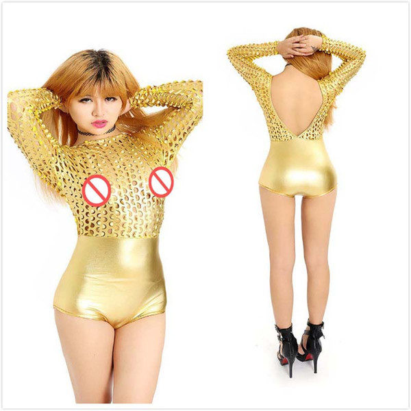New Shiny Gold Pole Dancing Clothes Sexy Hollow Out Women Bodycon Teddies Long Sleeve Latex Bodysuit Backless Nightwear