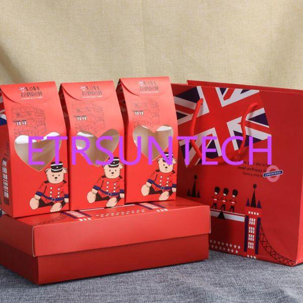 papel kraft caja de embalaje de regalo galleta bolsa de papel de soldado londinense manejar ventanas caramelo embalaje partido favor QW7818