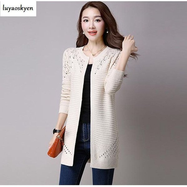 Women Knitted Hollow Out Long Sleeve cardigan Sweater Autumn Ladies Tops Casual Crochet Cardigans Sweaters Outfit Tops WU147