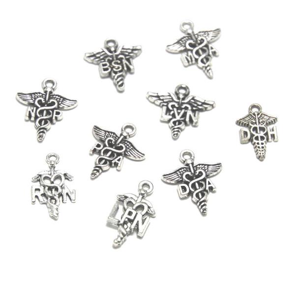 15 adet tıbbi burcu charm Hemşire RN NP BSN MA LVN PA RN LPN DA DH Charms Antik gümüş Hemşire Charms kolye 11x20mm