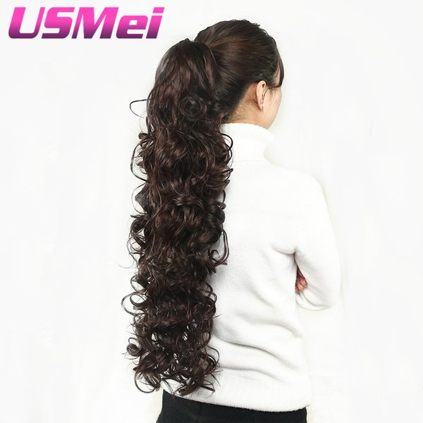 USMEI 32 pouces de long bouclés Clip Griffe Queue de cheval Faux Extensions de Cheveux Faux Cheveux Queues de Cheval Tresse Cheveux Synthétiques Postiches