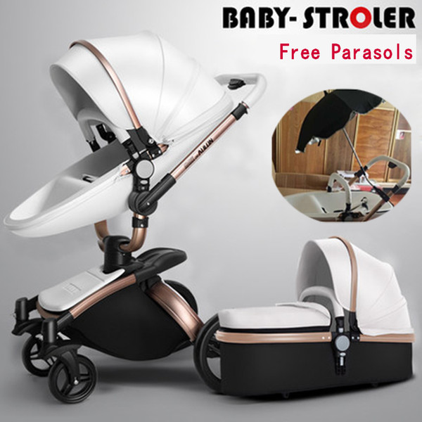 AULON high landscape 2 in 1 baby stroller multiple adjustable independent sleeping basket noble and luxurious
