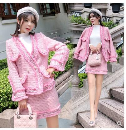 Autumn new fashion women's sweet pink color v-neck tweed woolen lurex coat and short pencil skirt twinset dress suit SML