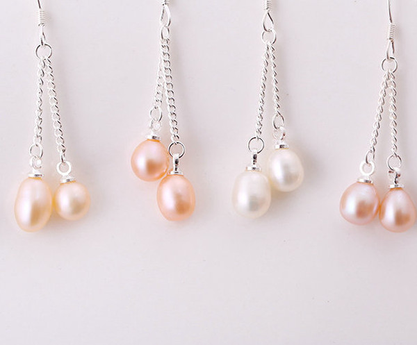 Freshwater Cultured Pearl Wholesale 3 colors White Purple cream Pearl Fashion Hook Pearl Earrings Jewelry Gift