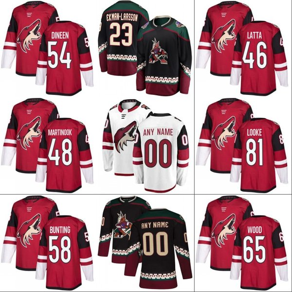 #46 Michael Latta Jersey Arizona Coyotes 54 Cam Dineen 51 Mike Sislo 75 Kyle Capobianco 65 Kyle Wood 81 Jens Looke Hockey Jerseys