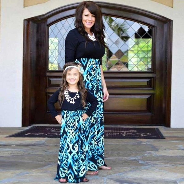 Mother Daughter Dresses Family Look Black Blue Long Sleeve Patchwork Mommy and Me Costume Matching Outfits Evening Dress