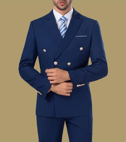 Blue Double Breasted Men Suits 3pcs(Jacket+Pant+Vest+Tie) Wedding Prom Groom Suits Tuxedos For Men Prom Tuxedos Best