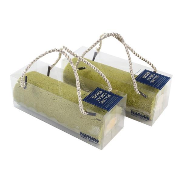 18*6.5*6.5cm clear PET baking packing box for Swiss roll sushi cupcake portable cake box wen7012