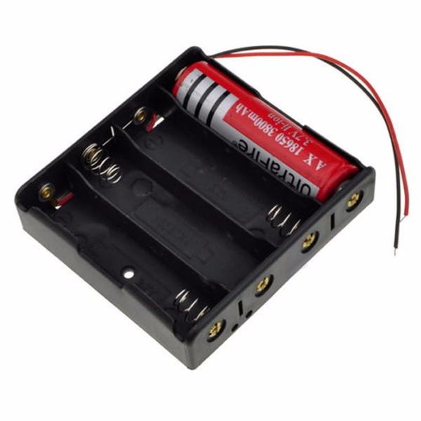 contenitore per la conservazione della batteria 16850 Contenitore per la conservazione della batteria Supporto in plastica per 4 batterie 18650 con 6 fili per
