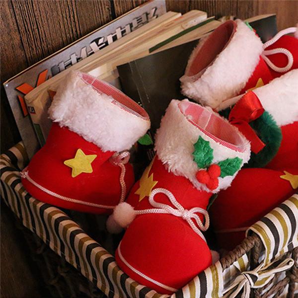 3 Tamanhos Xmas Doces Botas Meias de Natal Decoração Ornamento Decorações Do Partido Santa Meia de Natal Doces Meias Sacos de Presentes de Natal Saco 0222