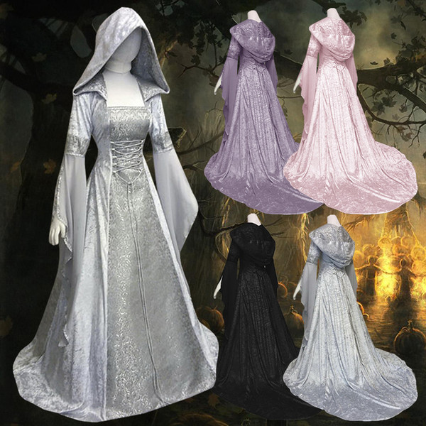 Women's Gothic Victorian Long Sleeves Hooded Lolita Witch Costumes Halloween Wandering Soul Gothic Witch Long Dress
