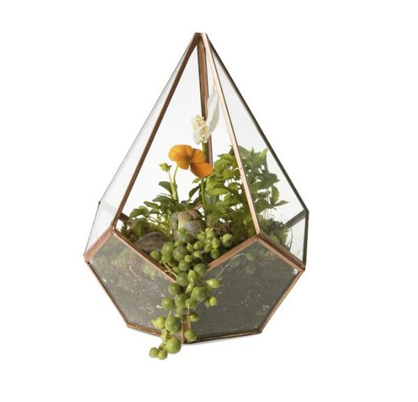 16 * 23 cm Yeni Minyatür Cam Teraryum Geometrik Elmas Masaüstü Bahçe Masa Etli Fern Moss Bitki Bonsai Saksı