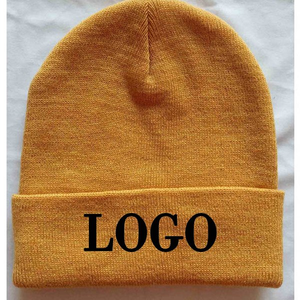 10pcs Custom Yellow Mützen Adult Elastic Winter Warme Mütze Stich Logo Skullies Acryl Beanies Normal große Größe Bekleidung Hüte