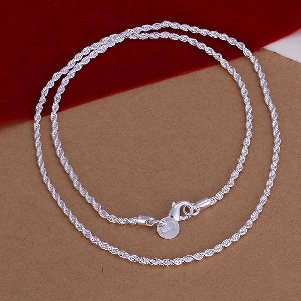 whole saleWomen's 2mm Twist chain 22'' 55cm any size option Long Chains necklace 925 stamp silver plated gift pouches free Colar de Prata