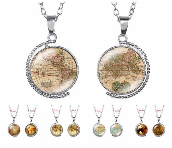Unique Design Vintage World Map Pattern Pendant Necklace 5 Styles Globe-Shape Double Sides Rotatable Sweater Chain Holder Jewelry