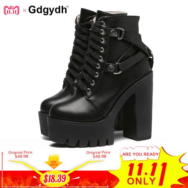 Compre Gdgydh Moda Botas Negras Mujer Tacón Primavera Otoño Con Cordones Zapatos De Plataforma De Cuero Suave Partido De Mujer Botines Tacones Altos A