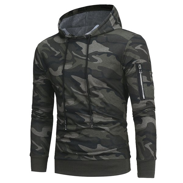 New Hip Hop Homens Outono Inverno Sportswear Moletom Com Capuz Hoodies Pulôver dos homens Hoodie Masculino Terno Do Esporte Oversize Exército Verde camuflagem