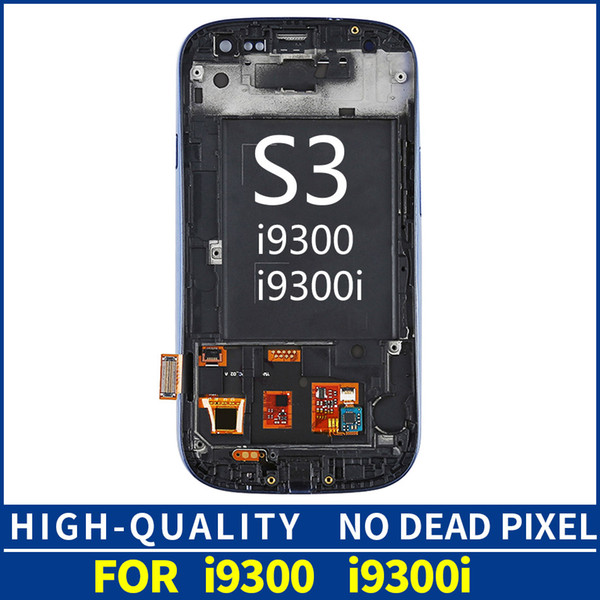 For Samsung Galaxy S III S3 i9300 i930 LCD Display Module + Blue Touch Screen Digitizer Sensor Assembly LCD Display Monitor Assembly + Frame