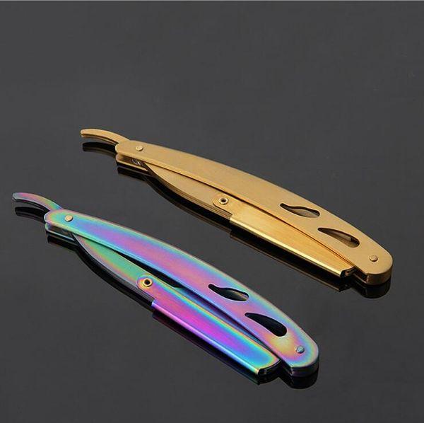 Single 420 Stainless Steel Handle Razor SHAVING RAZOR Barber Tools Hair Razor and Blades Antique Black Folding Shaving Knife